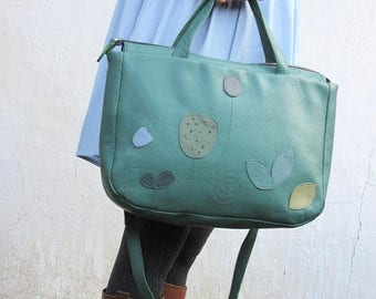 SALE Large Leather Bag / Leather Handbag / Leather Tote in Retro Green Applique Bag,mothers day