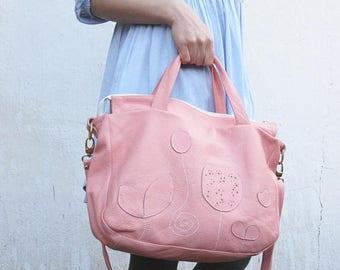 SALE womens tote leather bag, top handle bag, handbag, leather  boho, leather travel purse womens,  summer pink handmade  leather bag, mothe