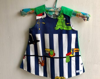 Girls pinafore dress, rainbow, vintage fabric, party dress, pinny