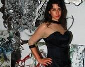 25% OFF SALE Vintage 1950s Mid Century Little Black Dress Bombshell Pin Up Cocktail Dress M/L