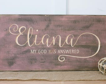 personalized name sign with meaning baby nursery decor wood sign 12x24 carved farmhouse rustic wooden - Wood Sign Design Ideas