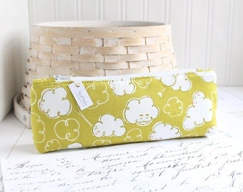 Windy Clouds Pencil Case Chartreuse Green Pencil Pouch Lemongrass Green