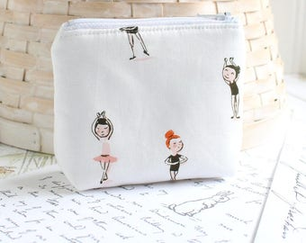 Small Coin Purse Change Purse Card Holder Pink and White Ballet Zipper Pouch