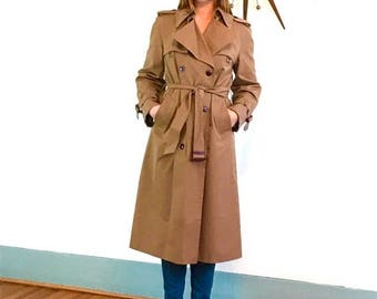 SALE 50% OFF Vintage 70s Etiene Aigner Trench Coat Ladies Double Breasted Dark Khaki Rain Jacket Belted Chestnut Brown Lapel Flap 1970s Wome