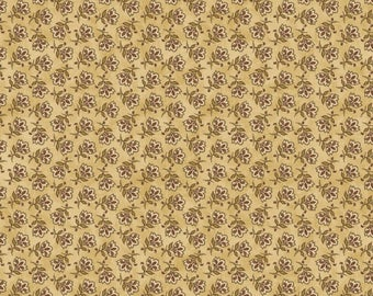 """NEW Chicks on the Run Craft 100% Cotton Quilt Fabric 44"""" wide X ONE Yard -Tan Flowers"""