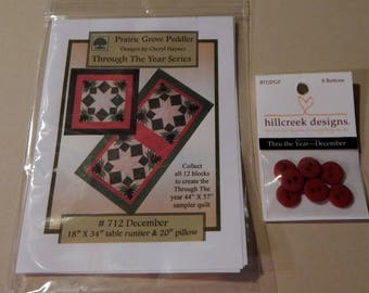 Through The Year-December Quilt Pattern With Hillcreek Buttons Included and Free Shipping