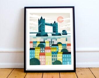 London Print - Tower Bridge  Art Print, Wall Art, Travel Art, Cityscape illustration, London Art, Nursery, Gift for her, Christmas Gift