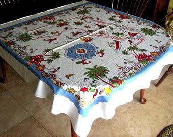 Retro Vintage FLORIDA State Souvenir TABLECLOTH Pre-Disney 50x48 GORGEOUS Bright Color