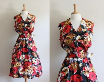 Vintage 1980s does 1950s Gold & Red Floral Midi Dress