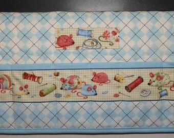 Quilted Sewing Machine Pad, Organizer, Caddy, Blue, White and Black Argyle, Sewing Tools
