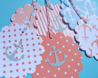Nautical Gift Tags - Bridal Shower Gift Tags, Wedding Thank You Tags, Baby Shower Tags, Coral Gift Tags, Teal Gift Tags - snt