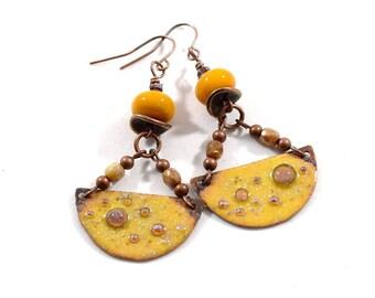 Rustic Yellow Boho Chic Earrings, Antique Copper Earrings, Golden Earrings, Artisan Earrings, Boho Earrings, OOAK, Big Earrings,  AE179