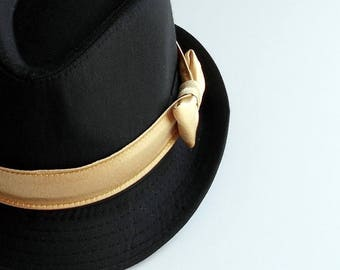 SALE Boy/Toddler Fedora with Satin Gold Band-  weeks before shipping