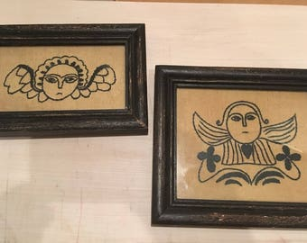 Vintage Pair Angry Angel Embroidered Yarn Framed Art