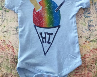 Baby Onesie, Light Blue, with Rainbow Shave Ice Block Print, Six (6) or Twelve (12) Months