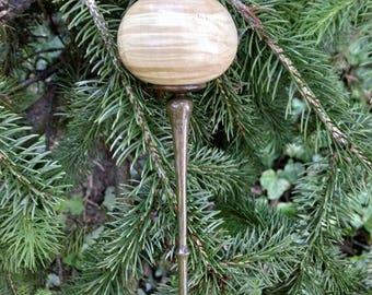 Wooden Ornament - Hand Turned Maple and Lignum Vitae Wood Ornament - Spindle Ornament