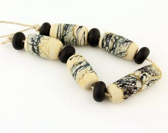 Lampwork Beads Set  Rustic, Organic, Etched Matte, Ivory and Black