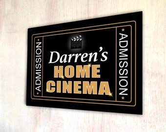 Personalised Home Cinema A4 metal plaque picture home deco Kitchens **ANY NAME**