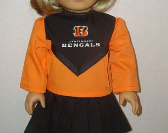 "ON SALE 18 Inch Doll Clothes,Fits 18"" American Girl Doll, Cincinnati, Bengals, cheerleader,cheer, ag doll, am girl, doll cloths,orange,READY"