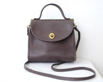 90s vintage dark brown leather COACH bag. small crossbody bag. leather shoulder bag
