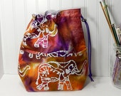 Elephant bag, Drawstring knitting bag, crochet WIP tote, project bag, gift for knitter, work in progress tote,  knitting bag, WIP