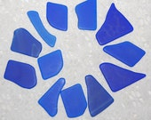Cobalt blue Faux Sea Glass recycled glass 12 pieces