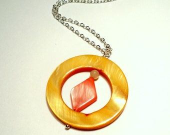 Mother of Pearl Layered Silver Summertime Necklace in Yellow and Orange