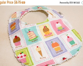 On Sale A Cupcake for Everyday - Infant or Toddler Bib - Terry Cloth Backing - Reversible with ADJUSTABLE Snaps