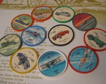 11 JELLO WHEELS hostess  chips planes and automobiles sixties time frame
