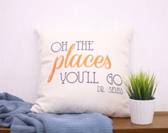 Oh the Places You'll Go Pillow Cover | Dr Seuss Decor | Baby Shower Gift | Nursery Decor | Graduation Gift | Uncomon Pillow Childrens Book