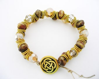 Gold Celtic Endless Knot Shades of Brown Irish Goddess Bracelet-Gold Ireland Jewelry