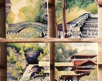 Ithaca NY wooden coaster set