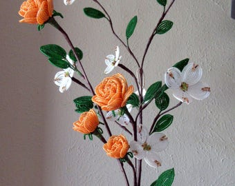 Dogwoods & Roses -  Dee's French Beaded Flowers