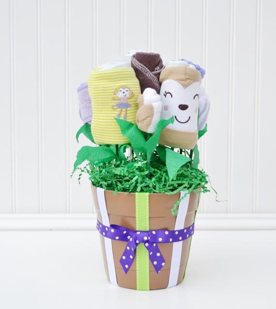 Girl Baby Shower Gift, Baby Girl Bouquet, Monkey Baby Shower Decoration or Centerpiece, Newborn Girl Gift Basket, Purple Brown Baby Clothes