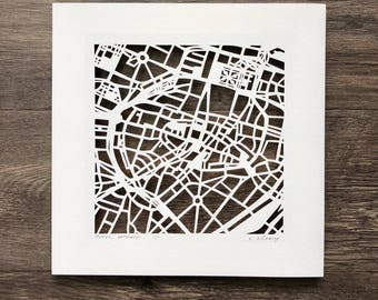 Munich, Berlin, or Dusseldorf hand cut map, 10x10