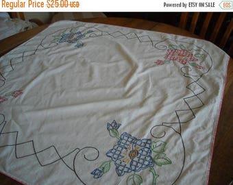 Sale Pretty Floral Cross Stitich Tablecloth