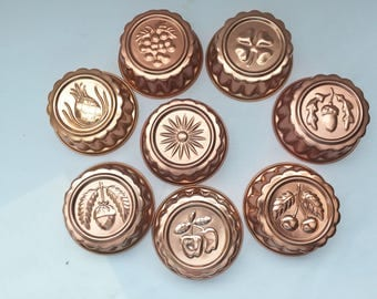 Set of 8 Small Metal Jello Molds, Copper Pink Aluminum Gelatin Molds