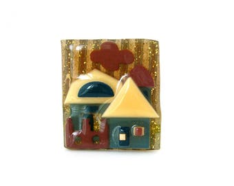 Vintage LUCINDA House Pins, Signed Farmhouse Barn Silo Glossy Glitter Brooch, Costume Jewelry