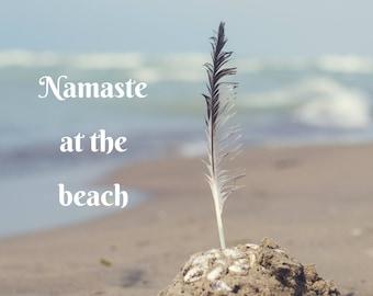 Beach Art Namaste feather photography, ocean photograph coastal decor, funny cute yoga studio art yogi, home decor, blue zen spiritual quote