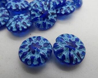14mm Ocean Blue Turquoise Dahlia Czech Glass Beads, 14mm Dahlia, Czech Glass Flowers, Czech Glass Dahlia, Dahlias, Dahlia, Czech Dalhlia