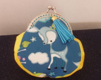 Coin Purse, Purse,Pouch,Wallet,Pocketbook,Handbag,Handcrafted,Silver Frame,Quality Cotton, Lil' Lamb in the Clouds