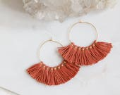 Tassel Hoop Earrings, Rust