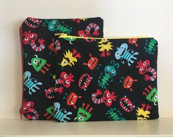 Reusable Sandwich Bag, Reusable Snack Bag, Kid Snavk Bag, Monsters