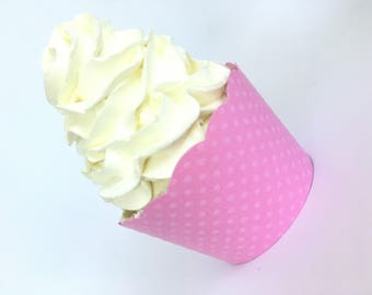 Pink Cupcake Wrappers, Dotted Swiss, Dots