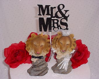 Lion Wedding Cake Topper-Hunter Groom's Cake Topper- Woodsy Woodland Animals Topper- Rustic Decorations - Jungle Lions-Circus Themed-B1