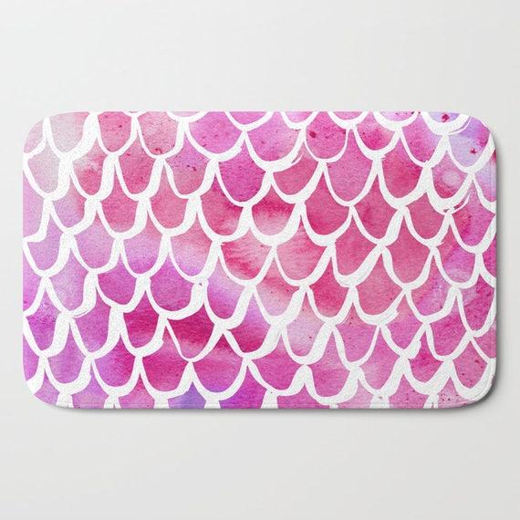 Bath Mat - Pink Bath Mat - Mermaid Bath Mat - Bath Rug - Shower Mat - Watercolor Rug - Pink Rug - Scallop Rug - Pink Mermaid Rug