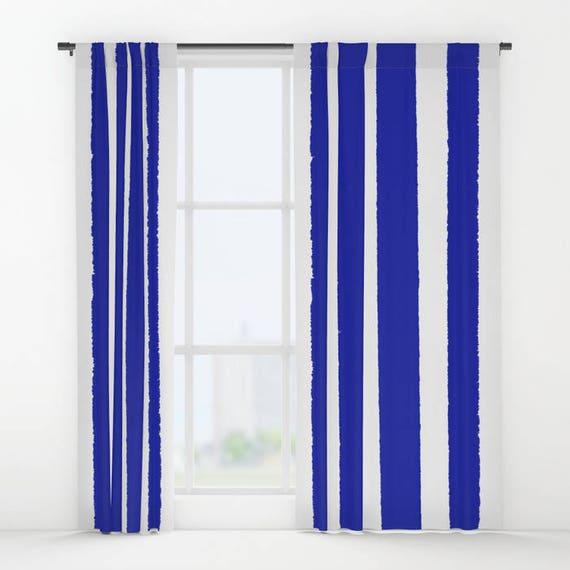 Azure Blue and White Striped curtains - Striped Curtains - Blue curtains - Window Curtains - Window Treatments - Stripe Curtain Panel Drapes