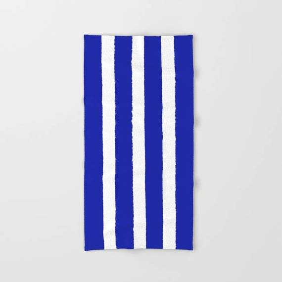 Azure Blue and White Stripe towel - striped hand towel - Blue beach towel - hand towel - Stripe bath towel - Cobalt beach towel Sapphire