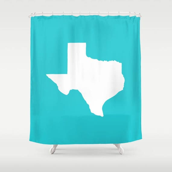 Texas Shower Curtain - Aquamarine Shower Curtain - Modern Shower Curtain - Aqua Shower Curtain - Texan Pride Shower Curtain  Cyan Bath Decor