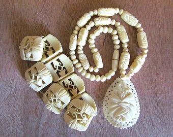 Vintage carved Bovine Bone Necklace and stretch bracelet